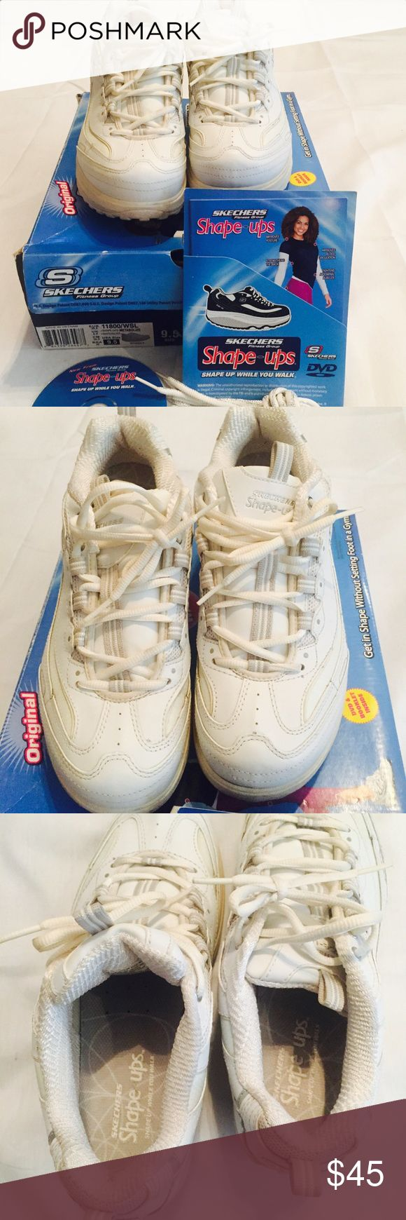 Skechers Womens shape ups shoes size 9.5 white Womens US 9.5 SKECHERS 11800 SHAPE UPS METABOLIZE Rocker Bottom Exercise Shoes Includes  DVD  booklet Extra glitter shoe laces Skechers Shoes Athletic Shoes