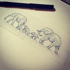 Can't get enough of stippling work I just love it. #simpleyetbeautiful #family #elephant #stippling #dotwork #delfindaniel #bookoflifetattooshop by delfindaniel