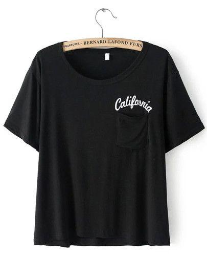 T-Shirt mit Buchstaben Druck und Taschen -schwarz