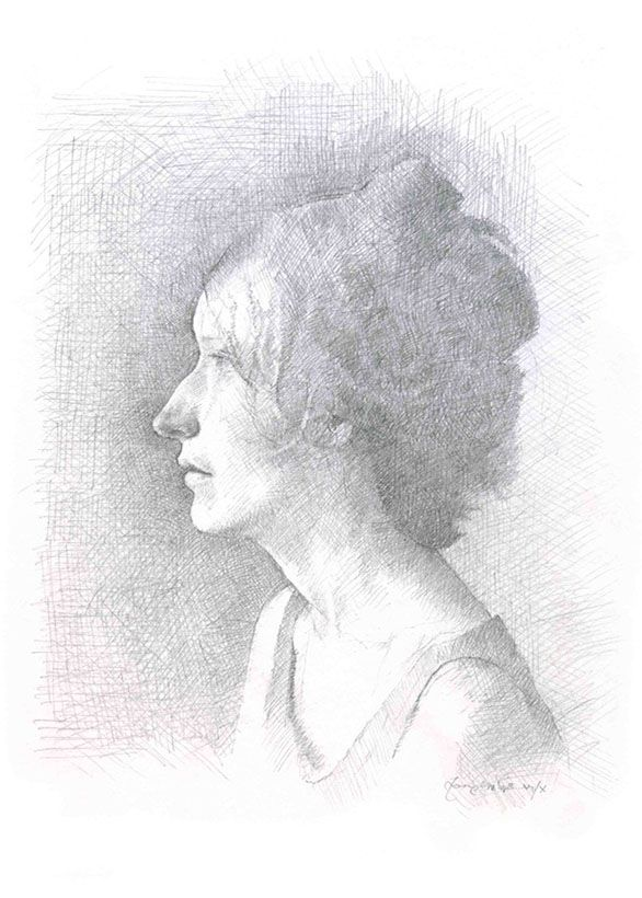 Tom Phillips 'Naomi' a portrait drawing