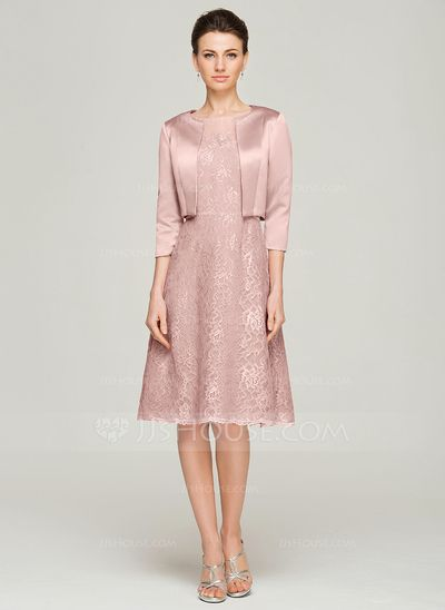 A-Line/Princess Scoop Neck Knee-Length Lace Mother of the Bride Dress With Beading (008062575)