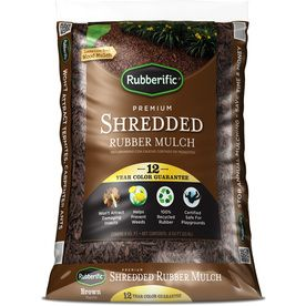 Rubberific 0.8-cu ft Dark Brown Shredded Rubber Mulch (Playground Certified)  Need 12 bags for a 6x6 area with 3 inches of mulch