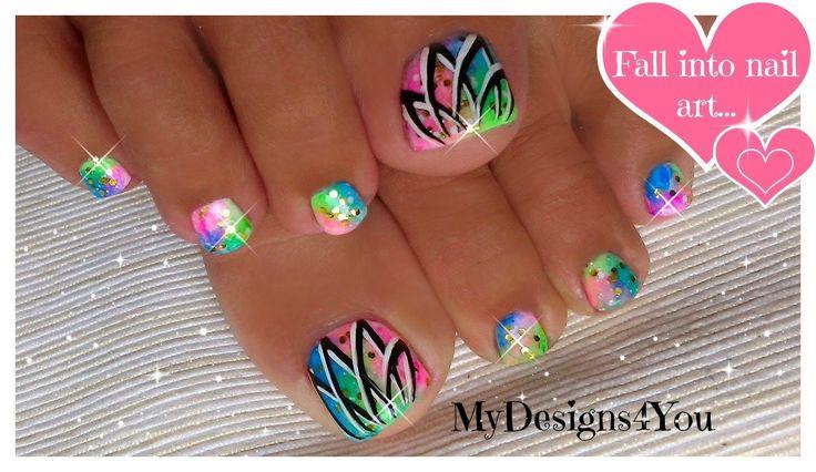 Summer Toenail Art | Easy Neon Toenails ♥  Летний Неоновый Педикюр