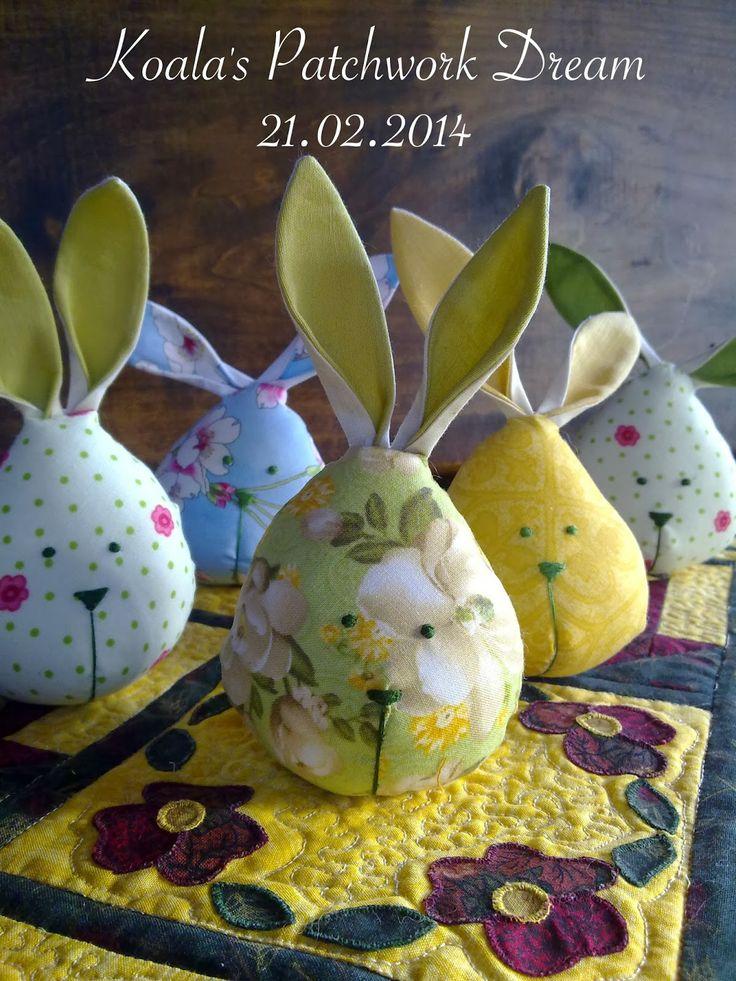 Koala's Patchwork Dream: Wiosna? Ależ tak... króliczki już są gotowe i jest... ich coraz więcej... króliczki Wielkanocne...