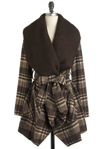 Cocoa and Waffles Coat by Ryu - Brown, Plaid, Pockets, Long Sleeve, Long, 2, Casual, Rustic, Fall, Belted