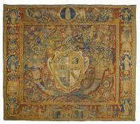WAPPEN-TAPISSERIE, spanisch, Flandern, datiert 1560. - Wappenkartusche mit[...], Château de Martheray at Koller Auctions SA