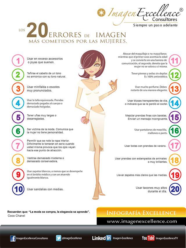 Imagen Excellence Consultores - Infografía - Los 20 errores de imagen más cometidos por las Mujeres