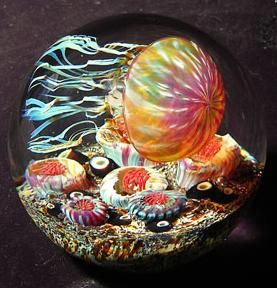 Glass jellyfish sculptures -by artist Richard Satava, a master glassblower who was introduced to glassblowing in 1969 while attending Ocean High School in Pacifica, CA.""