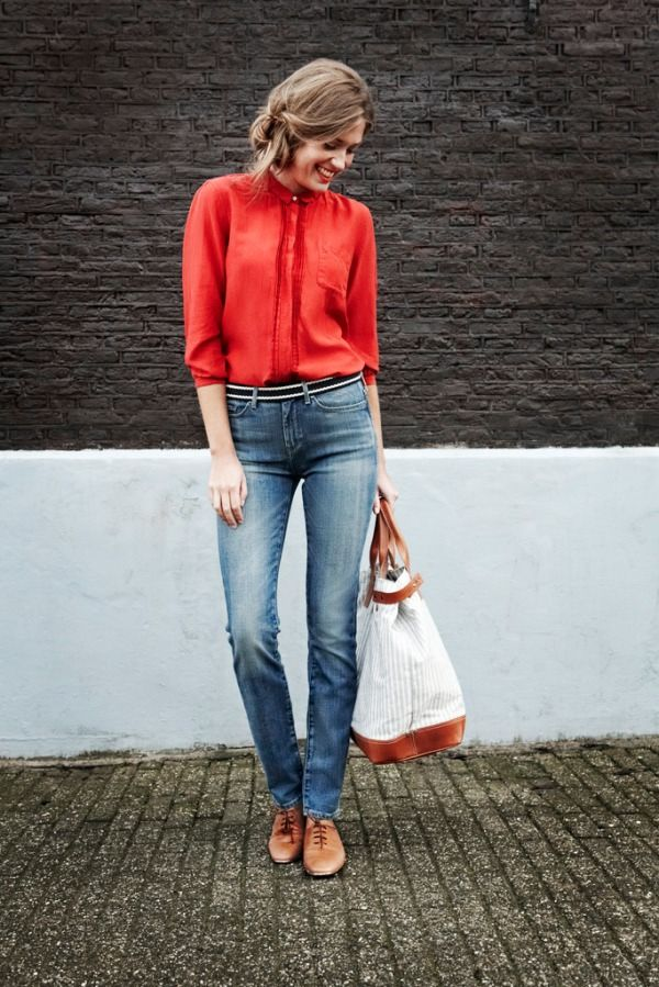 .Casual Red Dresses Outfit, Fashion, Denim Jeans, Style, Colors, Red Shirts, Nice Blouses, Red Blouses, Women Dresses Shirts Outfit