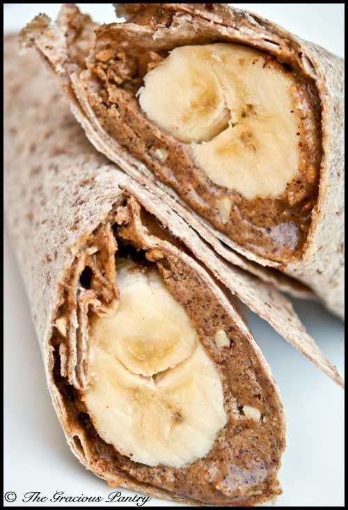 Clean Eating Banana Wrap  Ingredients:  1 large whole wheat tortilla  1/4 cup nut butter  1 banana    Optional Toppings:        Chia seeds      Flax seeds      Sliced strawberries      Clean eating jam or jelly      Grain sweetened chocolate chips or carob chips. Really like this idea, but with more fruits and peanut butter.