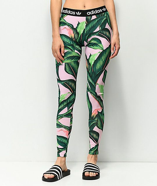 ca9dcacc653 adidas Palm Leaf Pink   Green Leggings in 2019