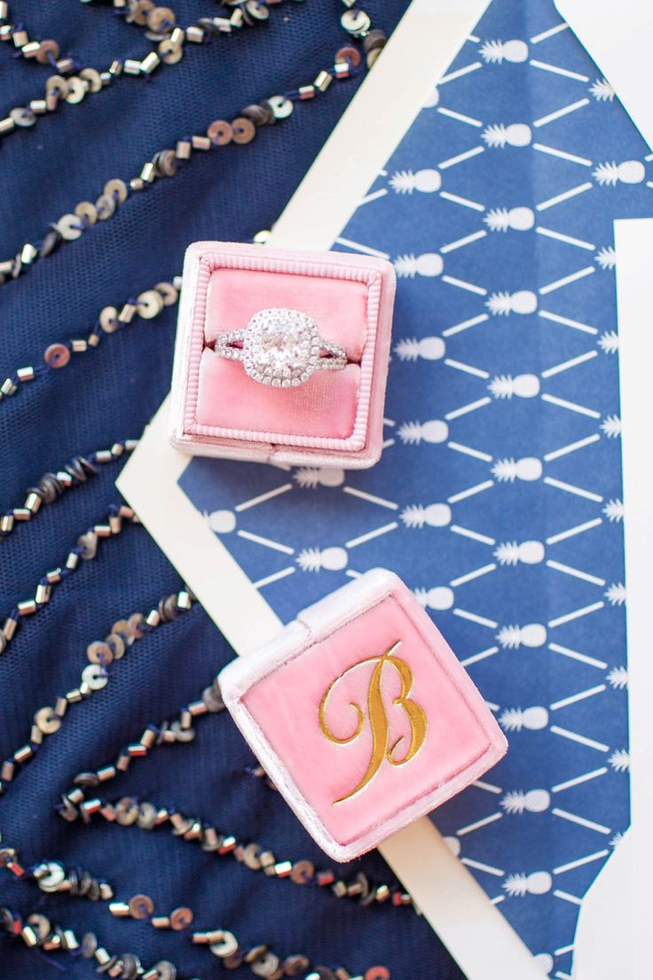 Classic Southern Monogram Wedding ring box in pink velvet