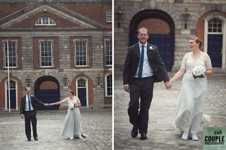 taking a stroll in Dublin Castle. Real Wedding by Couple Photography