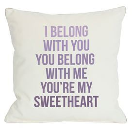 """Light gray pillow with a purple ombre typographic motif.  Product: PillowConstruction Material: Polyester cover and premium polyester down alternative fillColor: Light gray and purpleFeatures:  Zipper closureMade in the USAInsert included Dimensions: 18"""" x 18""""Cleaning and Care: Cover is machine washable"""