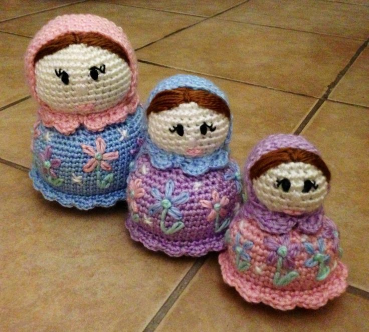 Amigurumi Nesting Dolls : Crocheted Russian nesting dolls Russian doll Pinterest ...