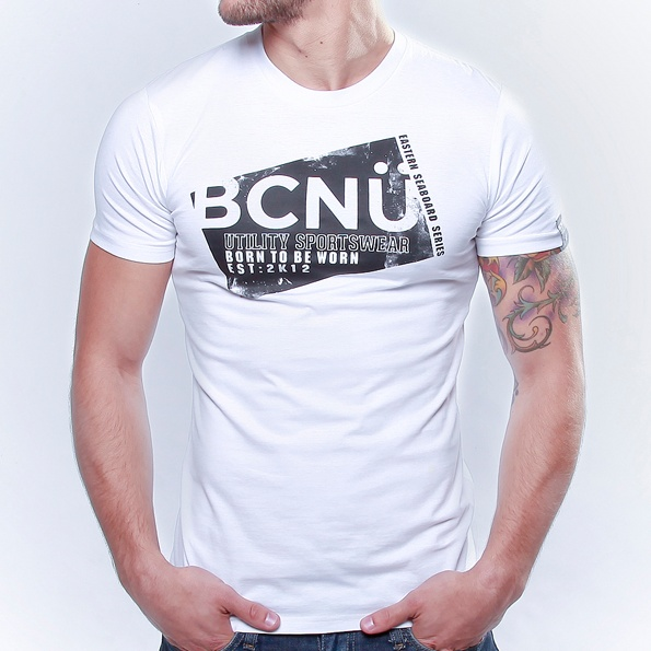Spor-TEE White  Born To Be Worn this 100% Cotton UtiliTEE is useful, functional, versatile, sporty and has been designed for everyday use. Dress it up, dress it down, wear it in, wear it out.     It's our favourite UtiliTee. It look's good, feel's good and is designed for urban lifestyle. www.bcnuclothing.com