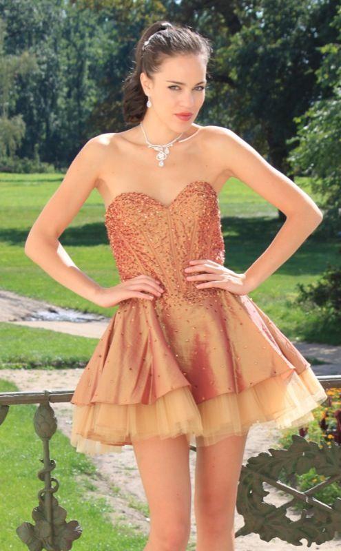 Gold Taffeta Beaded Dress