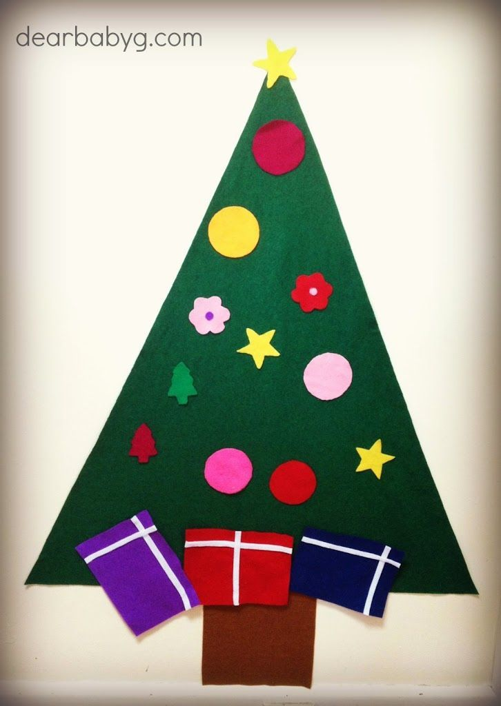 DIY Felt Christmas Tree  I had seen these delightful Felt Christmas Tress floating around on Pinterest and thought it was the perfect Christmas activity to help keep Miss Maggie busy for a few minutes here and there.  What you need 80 cm dark green felt 1 square of dark brown felt for trunk …