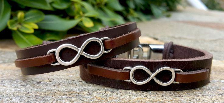 Couples Set Infinity Leather Bracelet Set His & Hers Infinity Sign Leather Couples Bracelet Set Mens Womens Nautical Anchor Leather (44.95 USD) by Braceletshomme