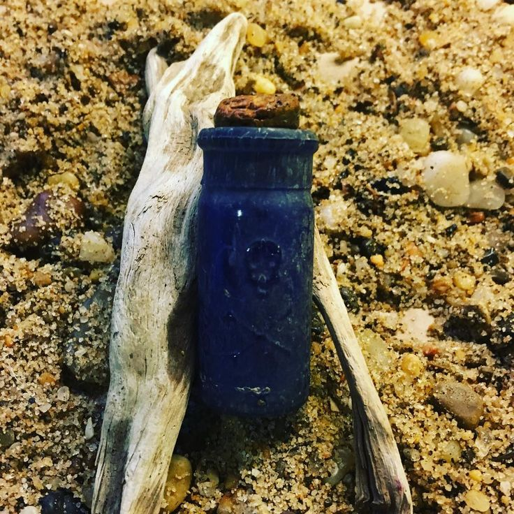 Sea Glass poison bottle with cork still in top