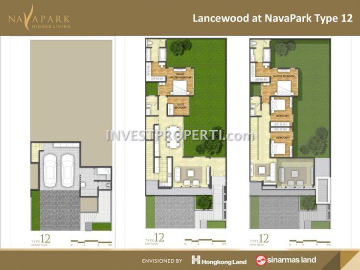 Denah rumah cluster Lancewood NavaPark Tipe 12 #sinarmasland #hongkongland #navaparkbsd