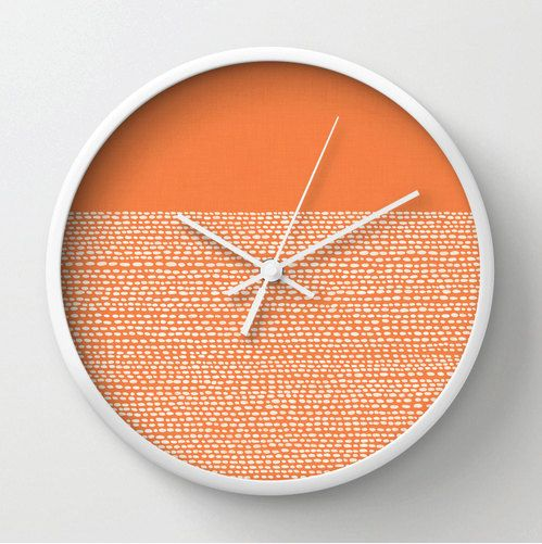 Celosia Orange Clock, Modern wall clock in Pantone colors of 2014, color blocked minimalist pattern, white dots on orange, mod wall clock