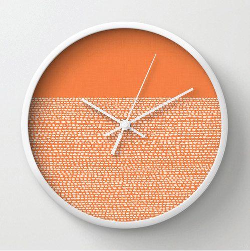 Celosia Orange Clock, Modern wall clock in Pantone colors of 2014, color blocked minimalist pattern, white dots on orange, mod wall clock