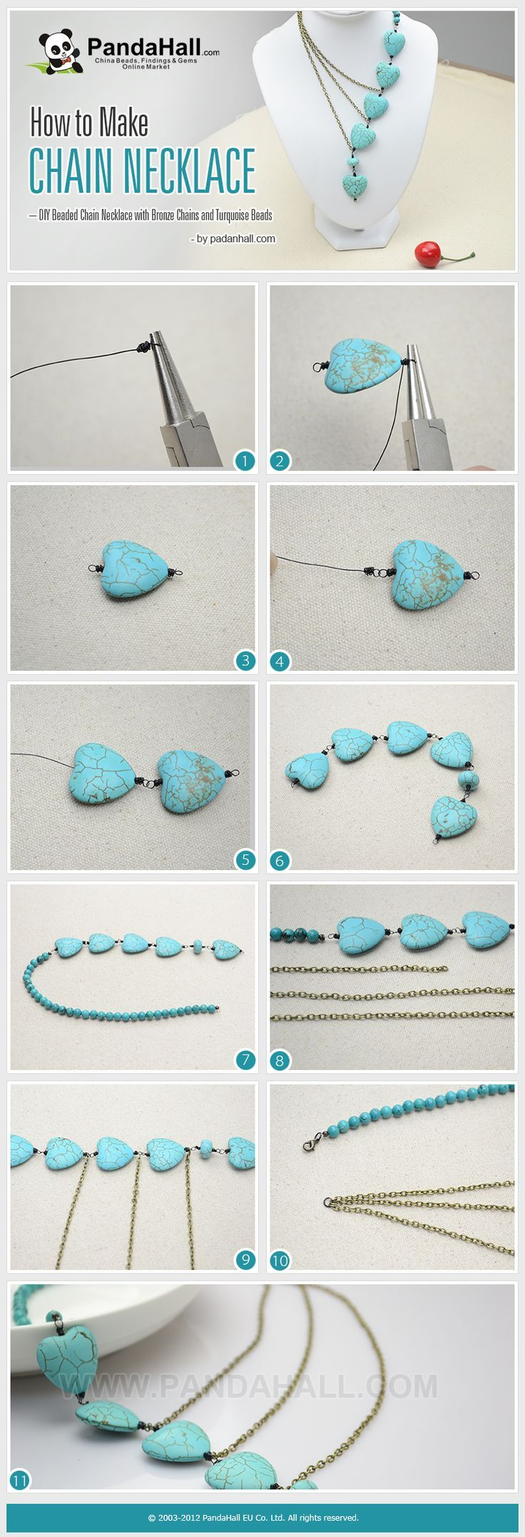 #DIY How to Make Chain Necklace - DIY Beaded Chain Necklace with Bronze Chains and Turquoise Beads