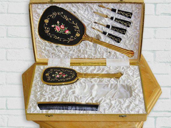 Ijdelheid haar en manicure kit / / 50s van Vintage70ies op Etsy