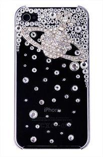 Gold saturn and rhinestones alloy diy bling phone deco kit K8   chriszcoolstuff - Craft Supplies on ArtFire