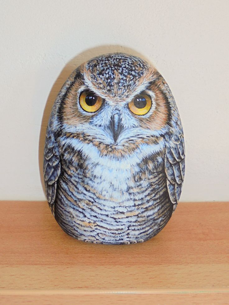 ROCK PAINTING OWL ! Standing upright and painted from both sides by Lefteris Kanetis. https://www.facebook.com/L.kanetis.paintedstones