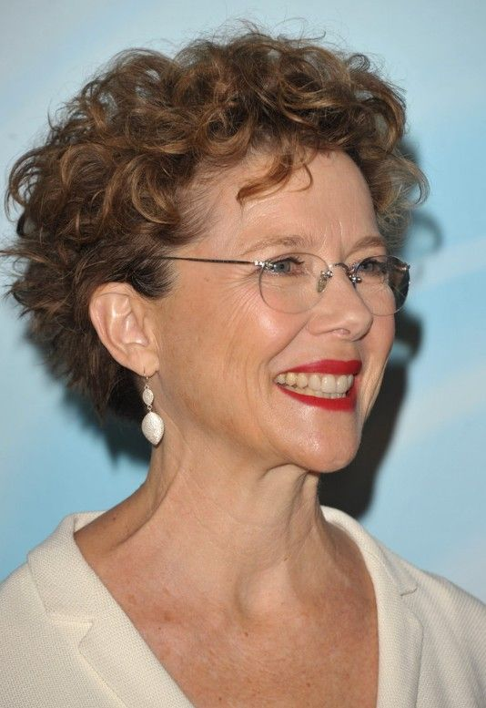 Short Curly Haircut for Women Over 50: Lively Curls in Razored Cut – Annette Bening Hairstyle
