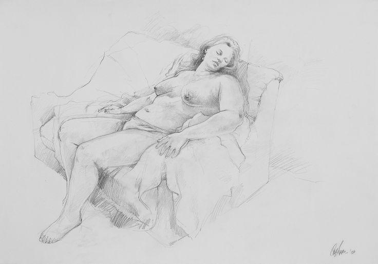 Nude by Carl Jeppe #art #drawing #figure www.art.co.za/carljeppe.html