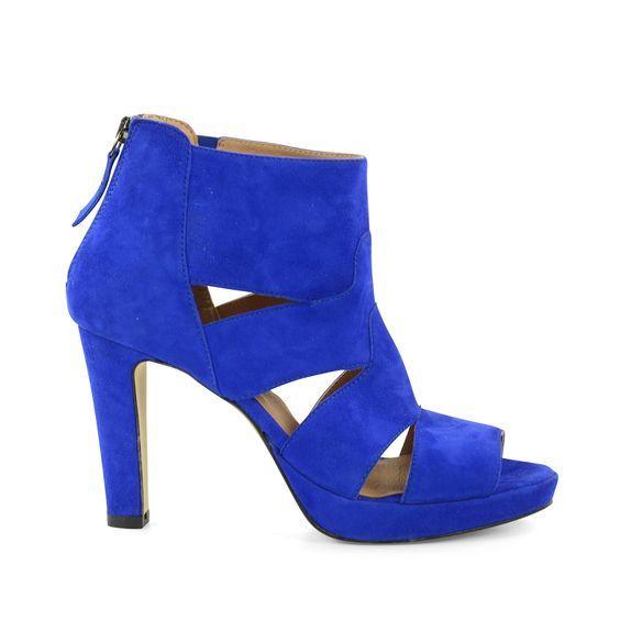 Blauwe open suède pumps | Dames  | MANFIELD