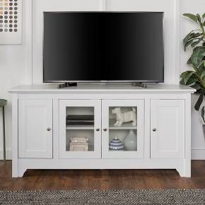 Built to support TVs up to 55 inches, this wood media console is the perfect solution for your home entertainment. Features four media cabinets with adjustable shelving and a built in cable management system to fit your components. Crafted from high-grade MDF with wood veneer finish to fit your home décor.