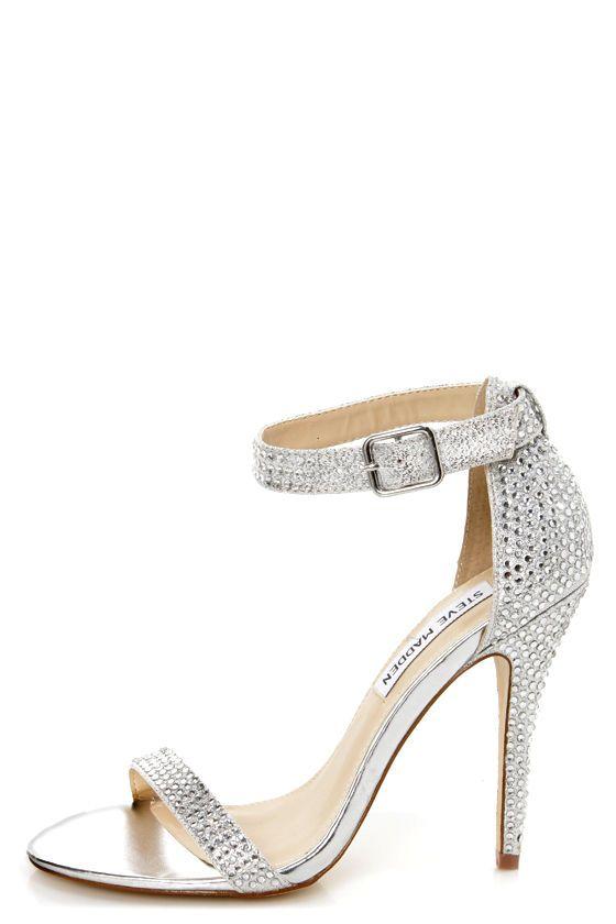 Steve Madden Realov R Silver Rhinestone Dress Sandals My Wedding Pinterest Shoes And