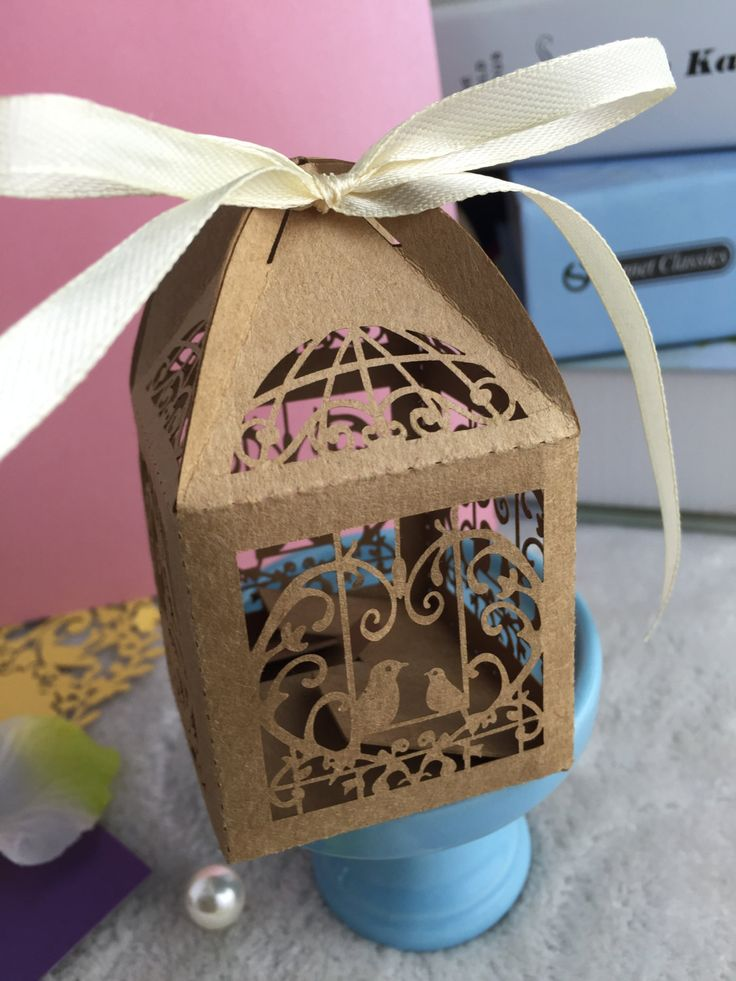 100pcs Kraft Paper Brown Laser Cut Wedding Favor Box with ribbon,Chocolate/Candy…