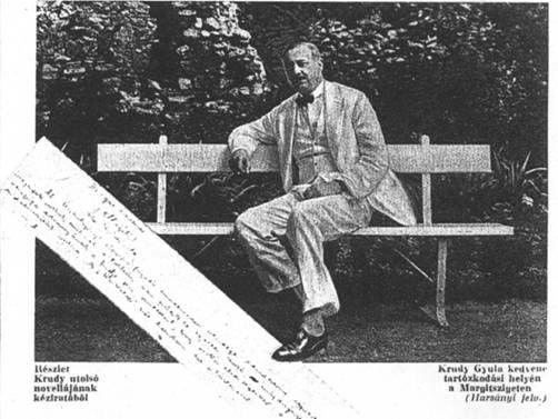 Krúdy Gyula egy margitszigeti padon - Forrás: www.444.hu