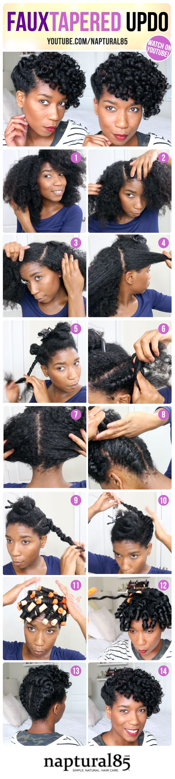Naptural85 - Natural Hair Care Tips - Faux Tapered Updo