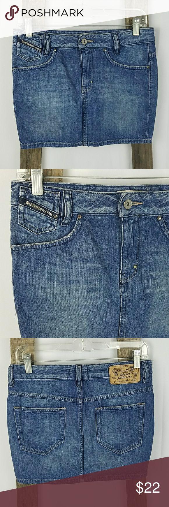 "Diesel women 25 blue jeans denim pencil mini skirt Diesel women 25 blue jeans denim mini skirt, 100% cotton.  Waist side to side: 15"" Length: 13"" Diesel Skirts Pencil"