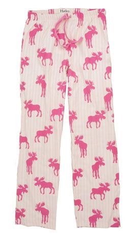 """Moose Stripe"" Women's Flannel Pant in Pink -"