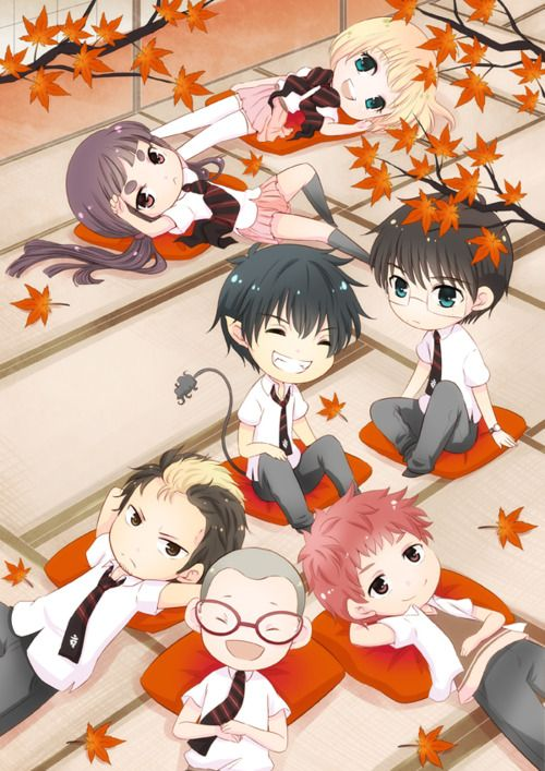 Chibi Blue Exorcist Main Characters i need to rewatch this anime it was one of the first animes I watched and loved it