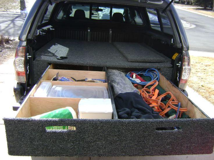 truck bed mattress platform storage compartments
