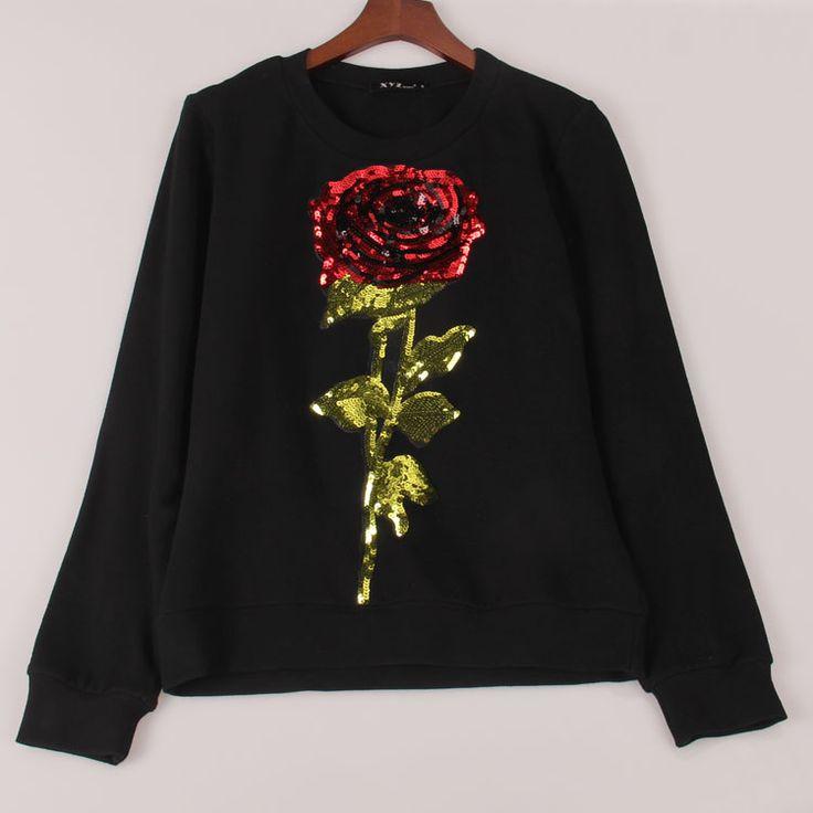 2016 new spring sweatshirt women ROSE sequins hoody hoodies long sleeve tracksuits pullovers women woman tops Sakura clothing