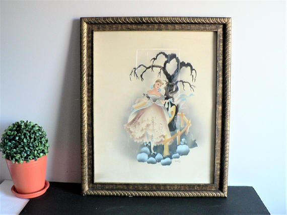 Vintage Art Deco Airbrush Watercolor Girl by listed American
