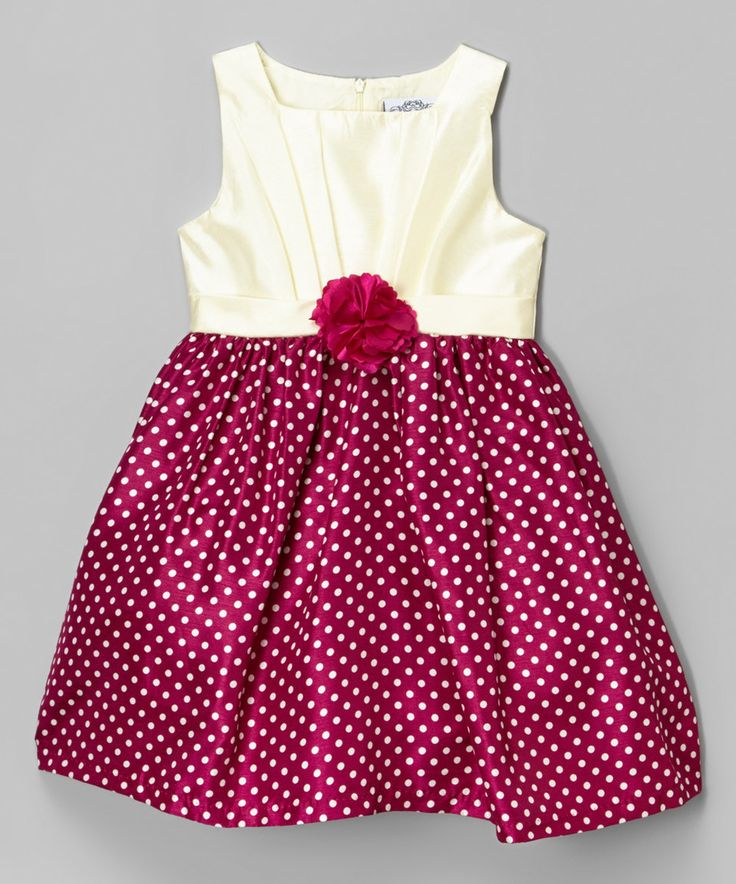 Look what I found on #zulily! Wine Polka Dot Pleated Shantung Dress - Infant, Kids & Tween by Mia Juliana #zulilyfinds