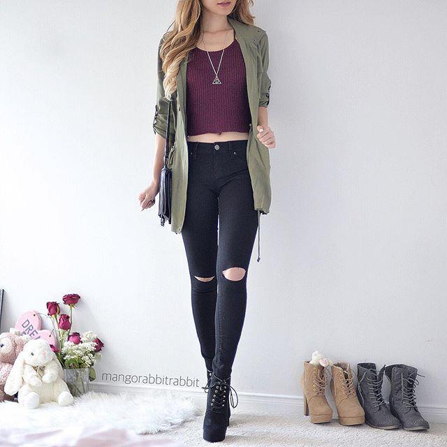 Calça preta+cropped+casaco