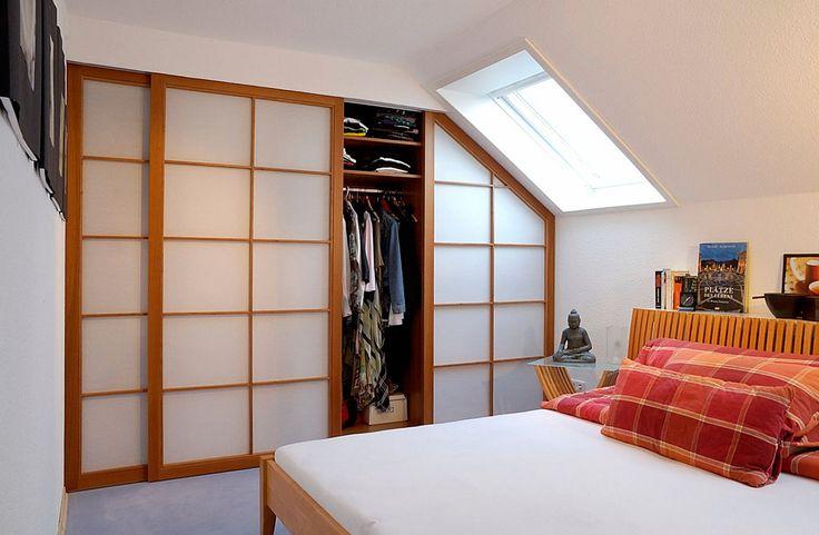 Japan Schiebtüren Schlafzimmer Kleiderschrank Kirschholz Massiv mit Sprossen