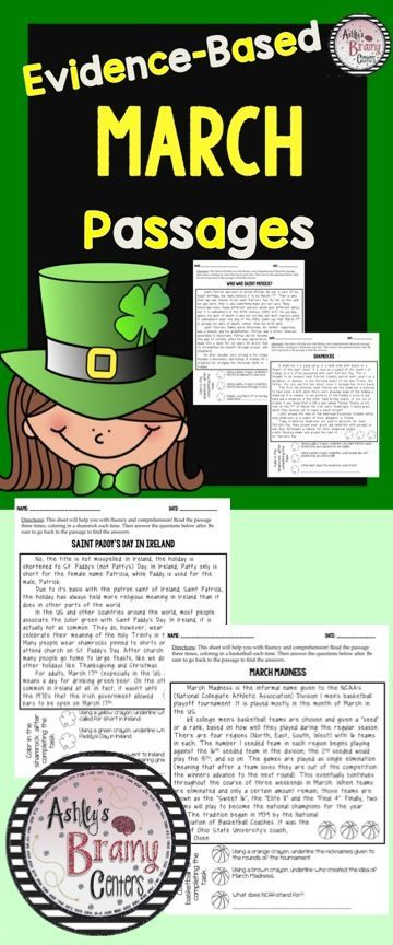 Evidence-Based Passages that are about March related topics. Students will be practicing fluency and sharpening their comprehension abilities with these high interest passages.   Topics include Who was St. Patrick?, Saint Paddy's Day in Ireland, All About Ireland, Shamrocks, The Science of Rainbows, March Madness, Rabbits, the Spring Equinox, Leprechauns, etc.