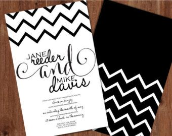 Black and White Wedding Invitation, Black and White Chevron Wedding Invitations, Chevron Wedding Invitations, Wedding Invitations